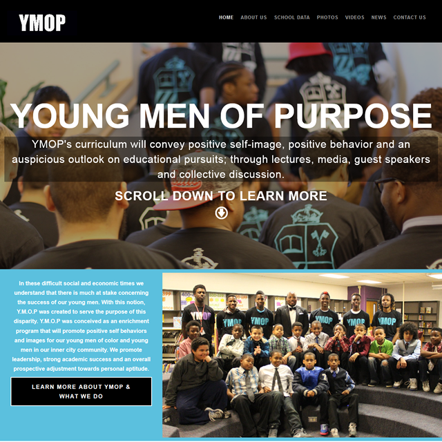 Young Men of Purpose (YMOP) website designed and developed by Tinelle Louis of Pretty Pages Web Studio
