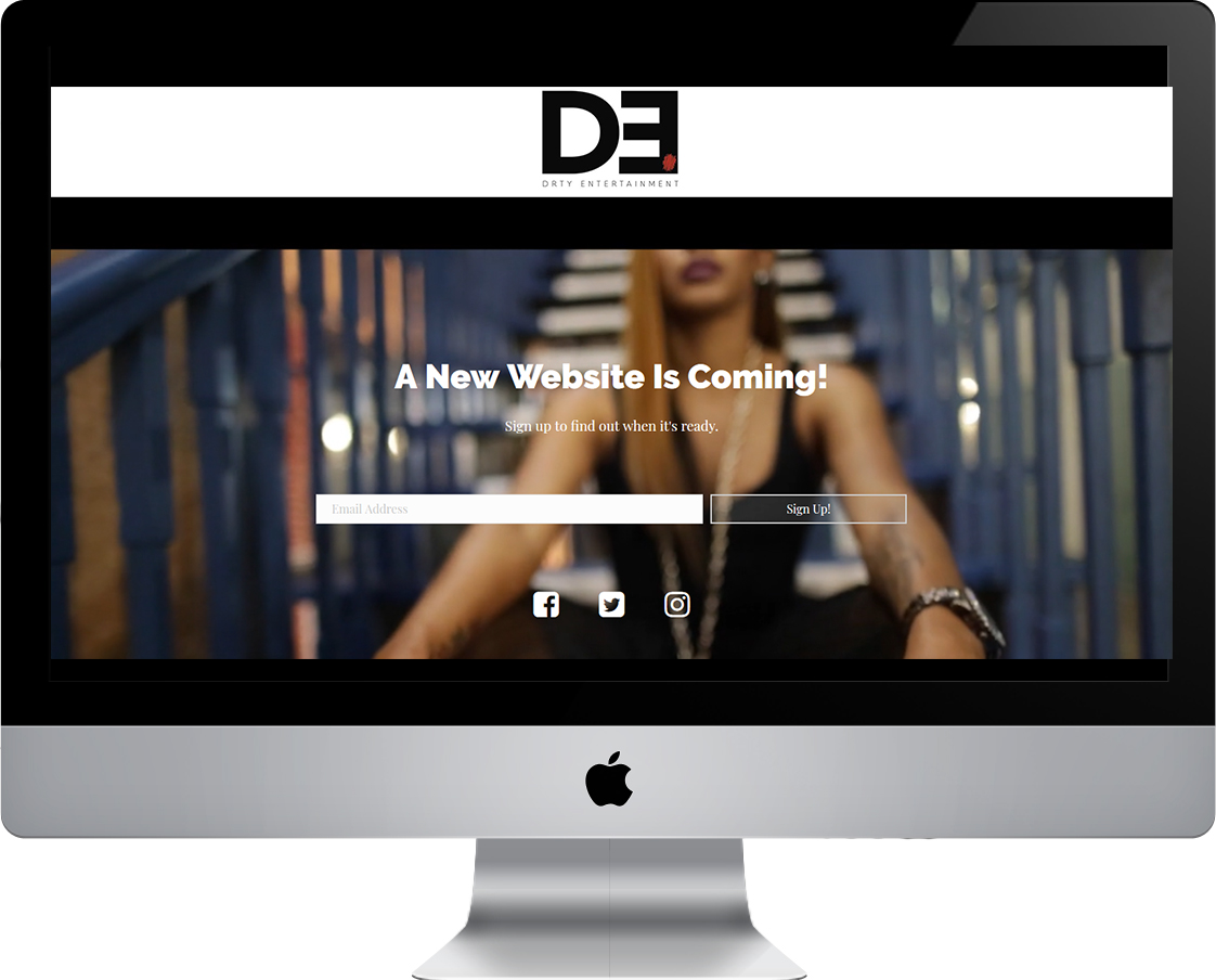 DRTY Entertainment Coming Soon / Landing Page web design by Pretty Pages in Aurora, Colorado