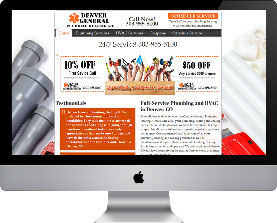 Denver General Plumbing Heating and Air web design by Pretty Pages in Aurora Colorado