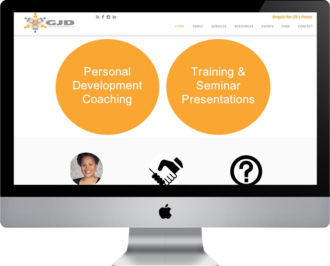 GJD Coaching & Consulting web design by Pretty Pages in Aurora, Colorado