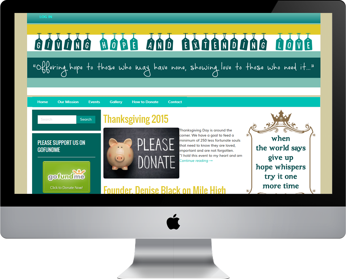Giving Hope And Extending Love web design by Pretty Pages in Aurora, CO