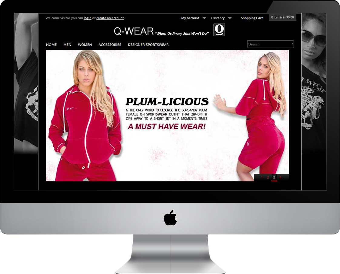 Q-Wear Clothing web design by Pretty Pages in Aurora, CO