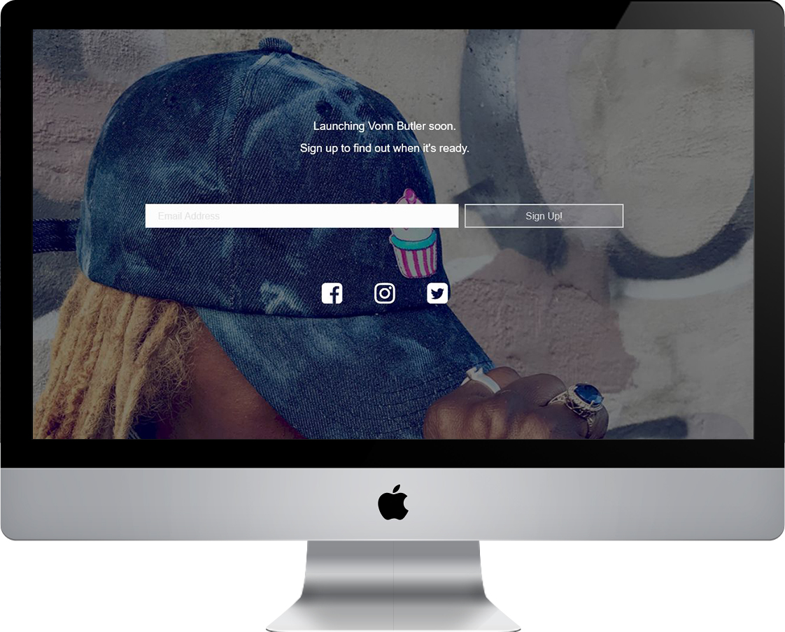 Vonn Butler Coming Soon / Landing Page by Pretty Pages in Aurora, CO